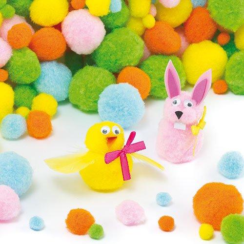 Baker Ross Spring Pastel Color Pom Poms Value Pack, Assorted Colors & Sizes, Children's Art & Craft Supplies Collage Embellishments (Pack of 200) ()