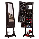 LANGRIA LED Lockable Jewelry Cabinet Full-Length Mirrored Jewelry Armoire Free Standing with Shoe Rack Bottom Shelf, Organizer for Rings, Earrings, Bracelets, Broaches and Cosmetics, Espresso