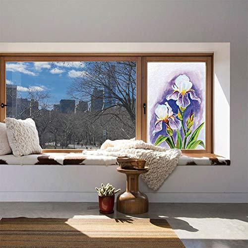 - YOLIYANA Stained Glass Window Film,Watercolor Flower,for Bathroom Shower Door Heat Cotrol Anti UV,Painting of Iris Flower Elegant Spring Season Blooming,24''x36''