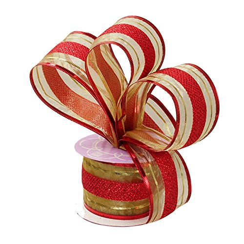(Red Gold Christmas Wired Ribbon - 2 1/2