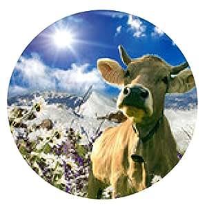 alfombrilla de ratón Vaca suiza feliz :) - ronda - 20cm