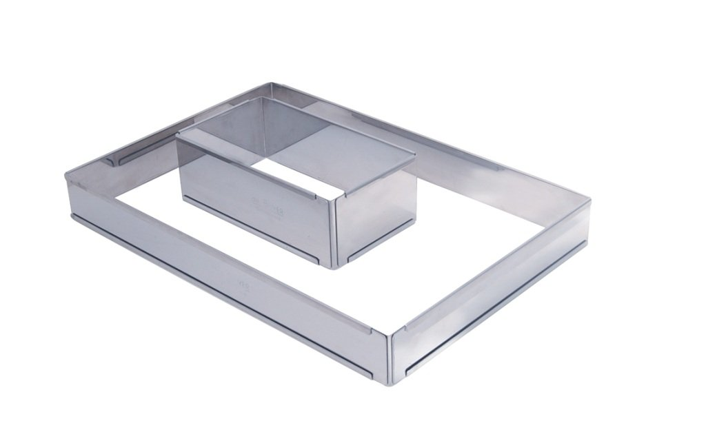 ADJUSTABLE PASTRY FRAME in Stainless Steel, Rectangular 8.5 x 4.5 x 3 to 15.75 x 8.25 De BUYER 3014.21