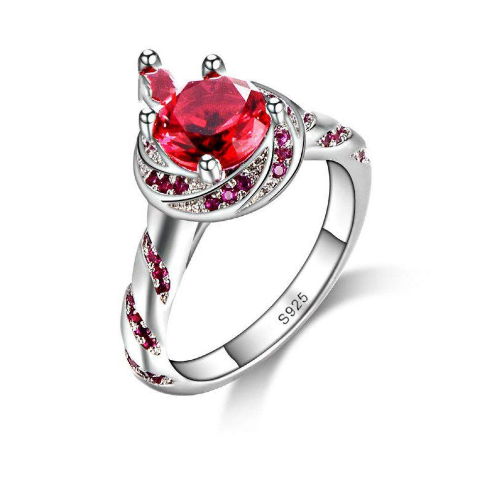 HCBYJ Lady ring Ladies Jewelry Cute Rings Exquisite Red Crystal Transparent Wedding 925 Sterling Silver