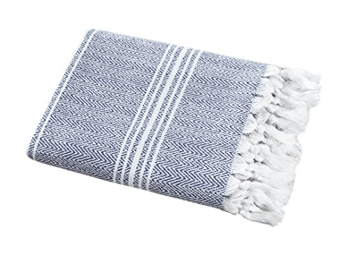 SALBAKOS Incredibly Soft, Turkish Peshtemal Fouta Towel, Eco-Friendly and Oeko-Tex Certified 100% Cotton, Herringbone for Spa Bath Pool Sauna Picnic Throw Blanket (40x70, Blue)