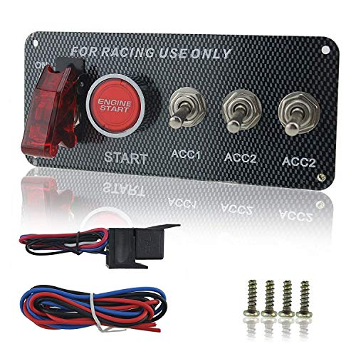 (Welugnal DC 12V Ignition Switch Panel 5 in 1 Car Engine Start Push Button LED Toggle For Racing)