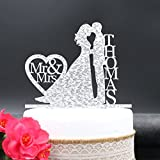 A-Parts 1pcs 20CM Personalized Wedding Cake Topper Custom-made Acrylic Mr & Mrs, Bride and Groom with Your Last Name for Wedding or Special Events