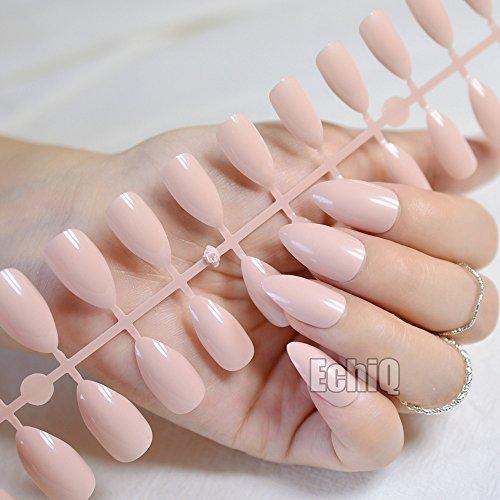 (CoolNail 24pcs Nude Natural Color Oval Sharp end Stiletto False Nails Flesh colour Fake Nails Tips Manicure Artificial Nails Salon)