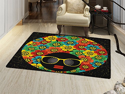 smallbeefly 70s Party Door Mat outside Abstract Woman Portrait Hair Style with Colorful Flowers Sunglasses Lips Graphic Bathroom Mat for tub Non Slip -