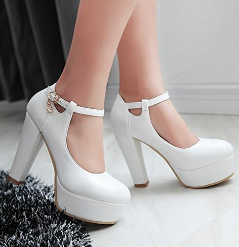 Easemax Womens Round Toe Platform High Chunky Heel Ankle Buckle Strap Pumps Shoes With Pendants White QUHFC5fRtA