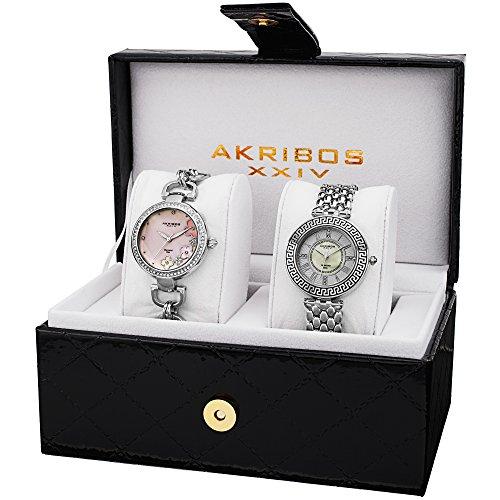 Akribos XXIV Women's AK886SS Genuine Diamond Quartz Silver Bracelet Watch