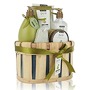 Spa Gift Basket, PURE Spa Basket -Bath and Body Gift Set, Includes Shower Gel, Body Lotion, Bubble Bath, Body Scrub…