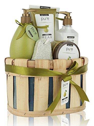 Spa Gift Basket, PURE Spa Basket -Bath and Body Gift Set, Includes Shower Gel, Body Lotion, Bubble Bath, Body Scrub & Bath-Body Sponge. #1 Holiday Gift Baskets for Women! (Premium XL)