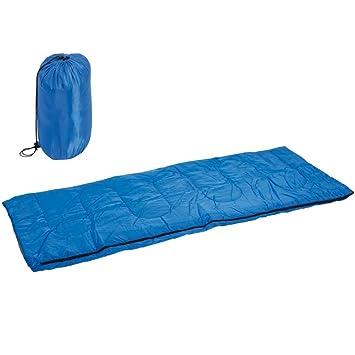 Saco de dormir individual de poliéster Antiumidità con cremallera lateral Camping Outdoor Camping Playa con bolsa para el transporte Color Azul Enrico ...
