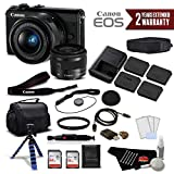 Canon EOS M100 Mirrorless Digital Camera with 15-45mm Lens (Black) 2209C011 International Version - Premium Bundle