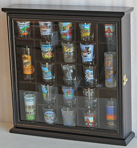 21 Shot Glass Display Case Wall Cabinet With Glass Door Solid Wood