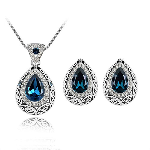Vintage Jewelry Set Guardian Teardrop Gemstone Bridal Wedding Earrings And Pendant Necklace Set For Women