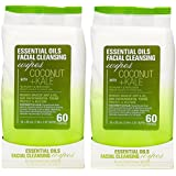 Essential Oils - 2 Pack (60 Count Each) Coconut and Kale Facial Cleansing Wipes