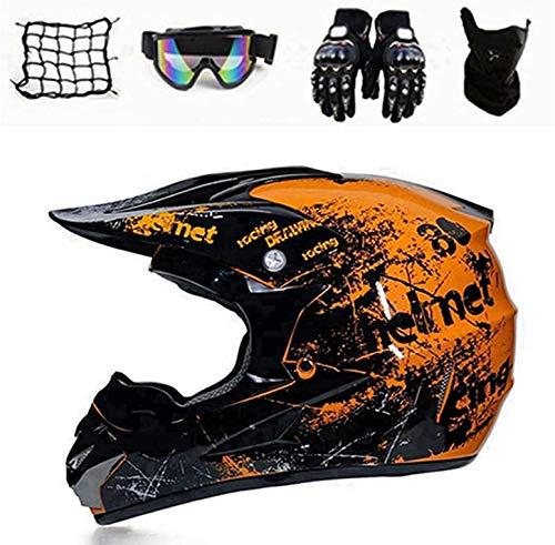 Motorhelm Motorcross Helm Kinderen Geel Zwart, Motocross Helm Set met Bril Handschoenen Masker Motorfiets Nets, Fullface…