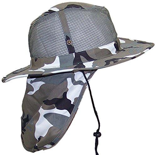 Tropic Hats Summer Wide Brim Mesh Safari/Outback W/Neck Flap & Snap Up Sides - City Camo L