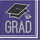 Club pack of 360 Purple and White school spirit Graduation Beverage Napkins 5''