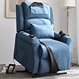 Irene House Power Modern Transitional Lift Chair Recliners with Soft Linen(Brushed ) Fabric (Blue)