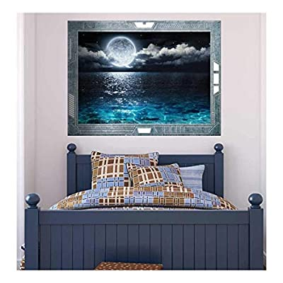 Amazing Print, Science Fiction ViewPort Decal The Moon Peeking through the Clouds and a Calm Night Wall Mural, That You Will Love