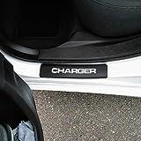 SENYAZON Car Threshold Pedal Sticker for Dodge Charger Decoration Scuff Plate Carbon Fibre Vinyl Sticker Car Accessories car-Styling (White)