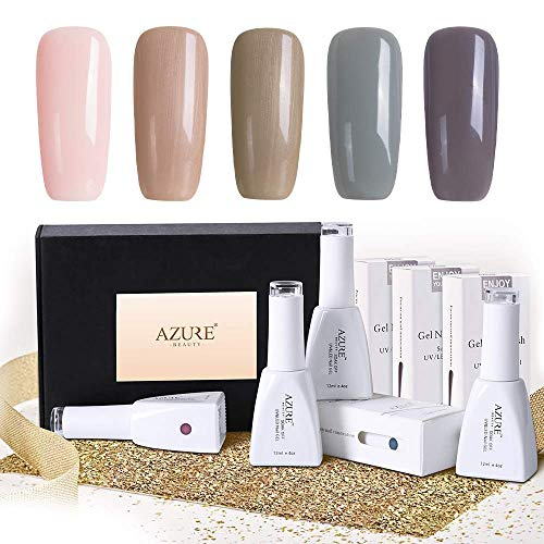 Gel Nail Polish Set(12ml 0.4OZ) - Popular Nude Grey Collection 5 Colors Nail Art Gift Box, Soak Off UV LED Gel Polish Kit ()
