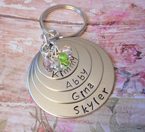 Four Layered Birthstone Key Chain with Family Names and Birthstones SST