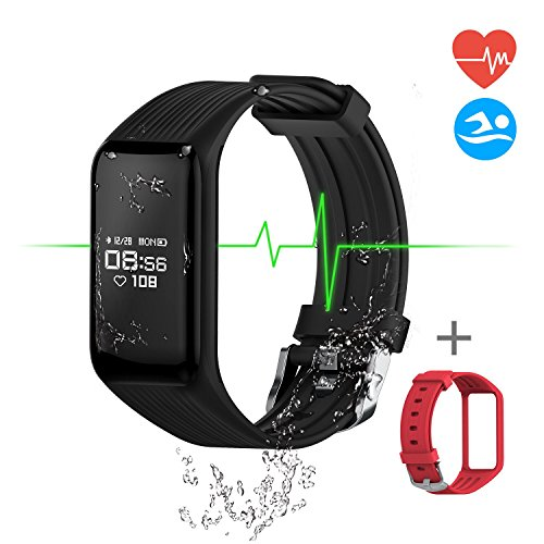 Fitness Tracker Smart Band Continuous Heart Rate Monitor, MGCOOL B3 Activity Tracker Swim Waterproof Bracelet with Sleep Monitor Step Counter Stopwatch, Smart Watch Sport, Christmas Gift, 2 Straps (Swimming Heart Rate Monitors)