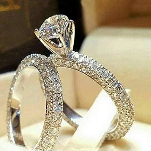 Monowi Women 18K White Gold Fil Topaz Wedding Anniversary Ring Jewelry Size 6-10   Model RNG - 6459   6