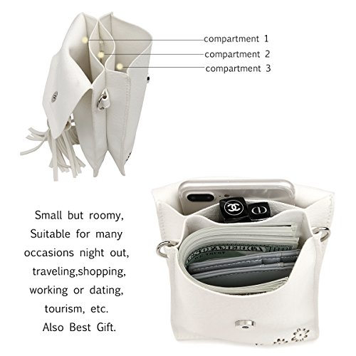 Women Small Crossbody Bag, seOSTO Tassel Cell Phone Purse Wallet Bags (White) … by seOSTO (Image #6)