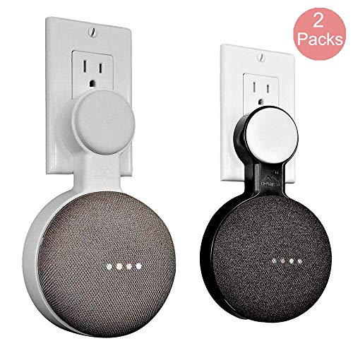 Google Home Mini Wall Mount Holder, Space-Saving Design AC Outlet Mount, Perfect Cord Management for Google Home Mini Voice Assistant (Black&White)
