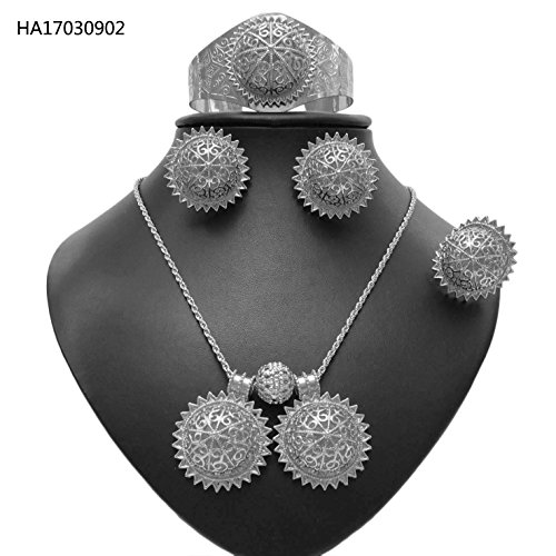 Yulaili Antique African Jewelry Necklaces Ladies New Ethiopian Silver Traditional Fashion For Women Habesha Set (Silver) by Yulaili