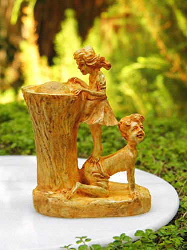 My Fairy Gardens Miniature - Girl & Boy Aged Drinking Fountain Statue - Mini Dollhouse Supply Expressions by New Miniature