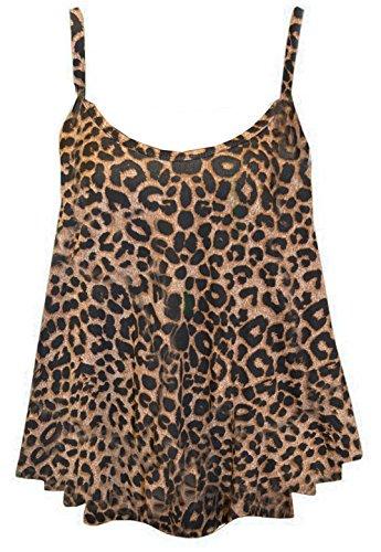 NUEVO MUJER Estampado De Cebra Sin mangas para tiras de tartán Swing Cami chaleco Tank Top 8–�?6 leopardo