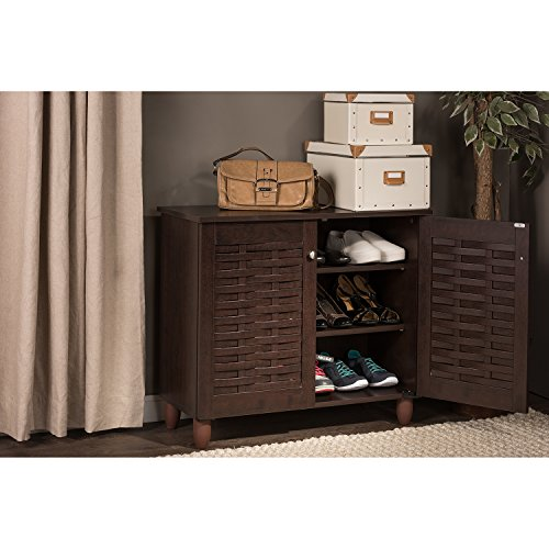 Wholesale Interiors Baxton Studio Winda Modern and Contemporary 2-Door Dark Brown Wooden Entryway Shoes Storage Cabinet
