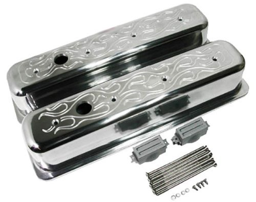 1987-97 Chevy 5.0L & 5.7L Tall Polished Aluminum Center Bolt Valve Covers - Flamed (Flamed Cover)