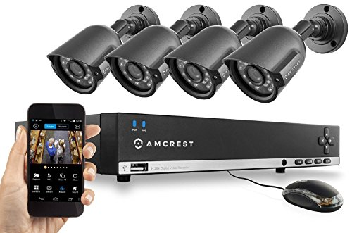 Amcrest 960H Video Security System - Four 800 TVL Weatherproof Cameras 65ft IR LED Night Vision 960H DVR Long Distance Transmit Range (984ft) 500GB HD (Upgradable) for 6 Days of HD Recording (30 Days at Lower Resolution Settings) USB Backup Feat...