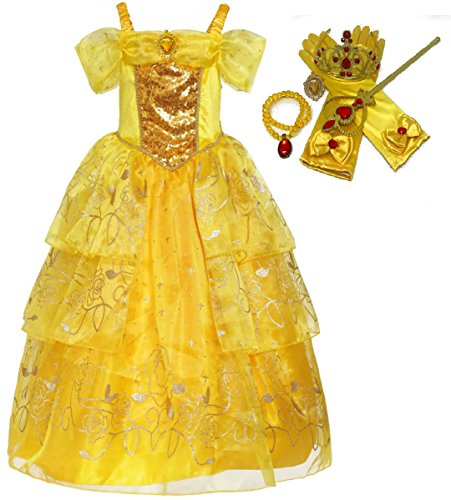 Costumes Gown (Romy's Collection Girls Deluxe Yellow Belle Dress up Gown Costume w/accessories (5-6, Yellow 2))