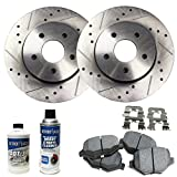 "Detroit Axle - 11.18"" (284mm) Drilled & Slotted Rear Brake Rotors & Brake Pads w/Clips Hardware Kit & BRAKE CLEANER & FLUID INCLUDED for 2006 2007 2008 Hyundai Sonata V6"