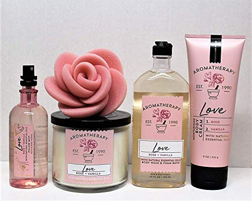Bath and Body Works Aromatherapy Love - Rose & Vanilla 3-Wick Candle, Pillow Mist, Body Wash & Foam Bath, Body Cream & Rose Sponge 5 pc Bundle by