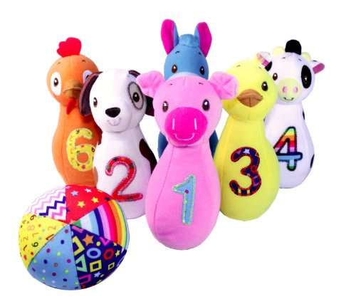 Earlyears Baby Farm Friends Bowling – Have Fun Bowling While Learning and Loving 6 Soft Farm Animal Pins – 12 Months and Up