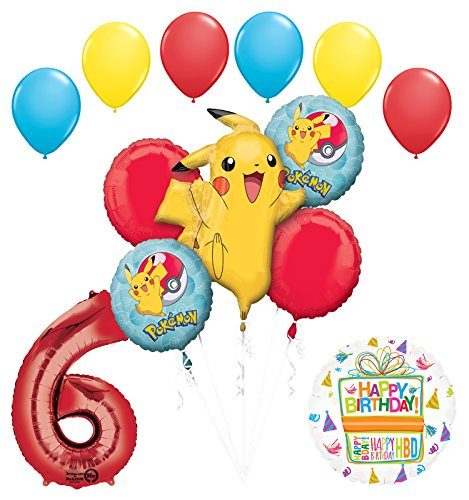Mayflower Products Pokemon 6th Birthday Party Supplies Balloon Bouquet Decorations -