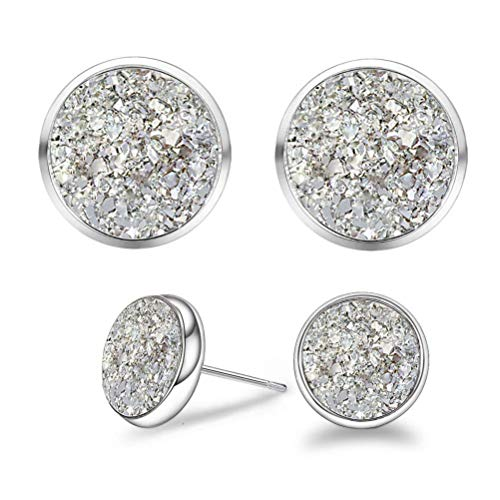 """925 Sterling Silver Natural Healing Agate Crystal Druzy Stone """"You and I"""" Couples Pairs Flat Round Stud Earring for Men and Women (Pure White Couple Set (8mm & ()"""