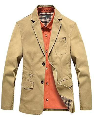 Yeokou Men's Lightweight Cotton Slim Fit Casual Suit Jacket Blazers Sport Coats