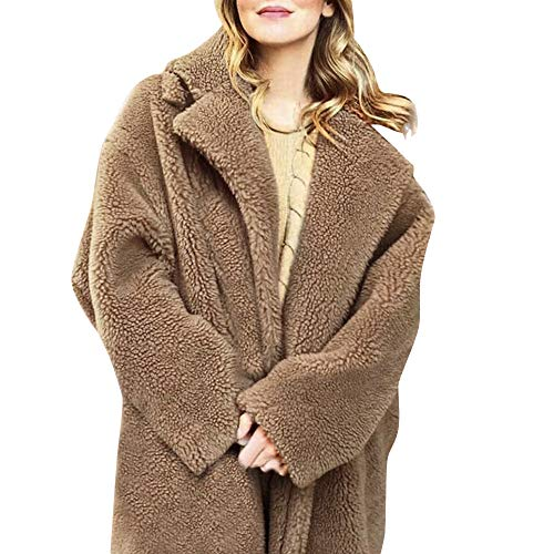 Women Winter Coat Women Solid Fuzzy Faux Fur Coat Long Sleeve Cardigan Oversized Long ()