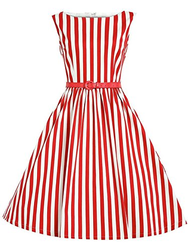 Womens Off-White Red Striped Knee-length Evening Party Dress,Red,Small ()