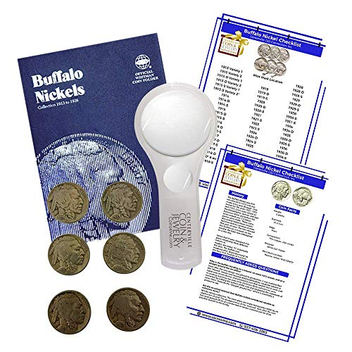 Buffalo Nickel Starter Collection Kit, Whitman [9008] Buffalo Nickel Folder 1913-1938, Six Buffalo/Indian Nickels, Magnifier and Checklist, (9 Items) Great Start for Beginner Collectors by Coins4Me