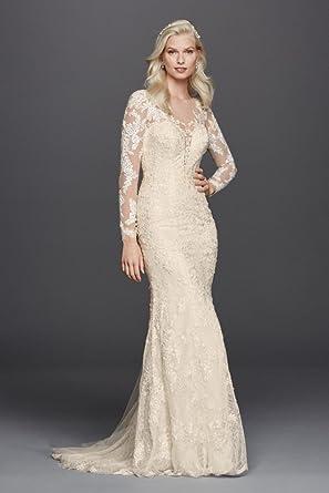 Davids bridal lace long sleeve illusion v neck wedding dress davids bridal lace long sleeve illusion v neck wedding dress style swg727 white junglespirit Gallery